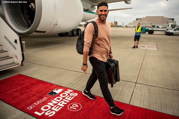 BOSTON, MA - JUNE 26: J.D. Martinez #28 of the Boston Red Sox reacts as the team travels to London ahead of the 2019 Major League Baseball London Series on June 26, 2019 in Boston, Massachusetts. (Photo by Billie Weiss/Boston Red Sox/Getty Images) *** Local Caption *** J.D. Martinez