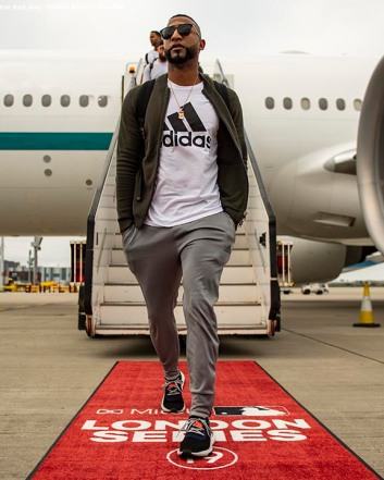 BOSTON, MA - JUNE 26: Eduardo Nunez #36 of the Boston Red Sox looks on as the team travels to London ahead of the 2019 Major League Baseball London Series on June 26, 2019 in Boston, Massachusetts. (Photo by Billie Weiss/Boston Red Sox/Getty Images) *** Local Caption *** Eduardo Nunez