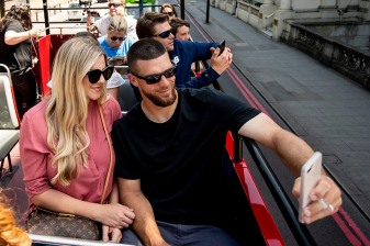 LONDON, ENGLAND - JUNE 27: Marcus Walden #64 of the Boston Red Sox poses for a selfie photograph with his wife Nichole during a bus tour ahead of the 2019 Major League Baseball London Series on June 27, 2019 in London, England. (Photo by Billie Weiss/Boston Red Sox/Getty Images) *** Local Caption *** Marcus Walden