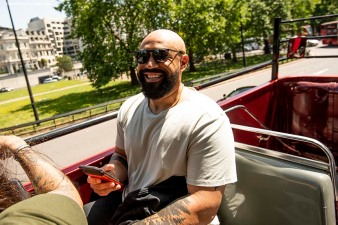 LONDON, ENGLAND - JUNE 27: Sandy Leon #3 of the Boston Red Sox looks on during a bus tour ahead of the 2019 Major League Baseball London Series on June 27, 2019 in London, England. (Photo by Billie Weiss/Boston Red Sox/Getty Images) *** Local Caption *** Sandy Leon
