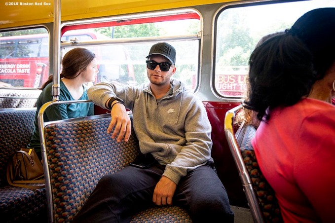 LONDON, ENGLAND - JUNE 27: Andrew Benintendi #16 of the Boston Red Sox looks on during a bus tour ahead of the 2019 Major League Baseball London Series on June 27, 2019 in London, England. (Photo by Billie Weiss/Boston Red Sox/Getty Images) *** Local Caption *** Andrew Benintendi