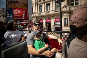 LONDON, ENGLAND - JUNE 27: Brock Holt #12 of the Boston Red Sox looks on with his son Griff during a bus tour ahead of the 2019 Major League Baseball London Series on June 27, 2019 in London, England. (Photo by Billie Weiss/Boston Red Sox/Getty Images) *** Local Caption *** Brock Holt