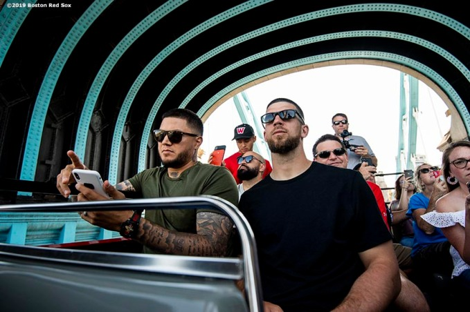 LONDON, ENGLAND - JUNE 27: Hector Velazquez #76 and Marcus Walden #64 of the Boston Red Sox look on during a bus tour ahead of the 2019 Major League Baseball London Series on June 27, 2019 in London, England. (Photo by Billie Weiss/Boston Red Sox/Getty Images) *** Local Caption *** Hector Velazquez; Marcus Walden