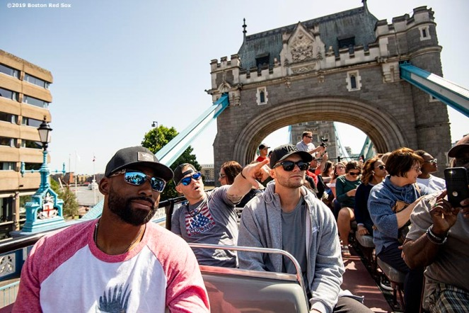 LONDON, ENGLAND - JUNE 27: Jackie Bradley Jr. #19, Brock Holt #12, and Andrew Benintendi #16 of the Boston Red Sox pose for a photograph during a bus tour ahead of the 2019 Major League Baseball London Series on June 27, 2019 in London, England. (Photo by Billie Weiss/Boston Red Sox/Getty Images) *** Local Caption *** Jackie Bradley Jr.; Andrew Benintendi; Brock Holt