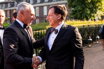 LONDON, ENGLAND - JUNE 27: Major League Baseball Commissioner Rob Manfred greets Boston Red Sox Chairman Tom Werner during the Mission Gratitude Gala in Cooperation with Home Base and the Red Sox Foundation ahead of the 2019 Major League Baseball London Series on June 27, 2019 at Kensington Palace in London, England. (Photo by Billie Weiss/Boston Red Sox/Getty Images) *** Local Caption *** Tom Werner; Rob Manfred