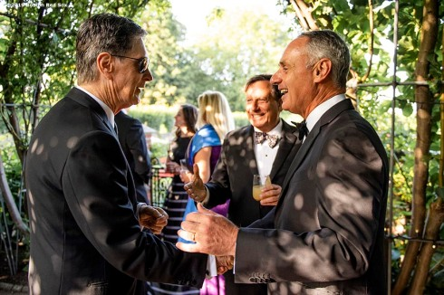 LONDON, ENGLAND - JUNE 27: Boston Red Sox Principal Owner John Henry greets Major League Baseball Commissioner Rob Manfred during the Mission Gratitude Gala in Cooperation with Home Base and the Red Sox Foundation ahead of the 2019 Major League Baseball London Series on June 27, 2019 at Kensington Palace in London, England. (Photo by Billie Weiss/Boston Red Sox/Getty Images) *** Local Caption *** Rob Manfred; John Henry