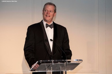 LONDON, ENGLAND - JUNE 27: Massachusetts Governor Charlie Baker speaks during the Mission Gratitude Gala in Cooperation with Home Base and the Red Sox Foundation ahead of the 2019 Major League Baseball London Series on June 27, 2019 at Kensington Palace in London, England. (Photo by Billie Weiss/Boston Red Sox/Getty Images) *** Local Caption *** Charlie Baker