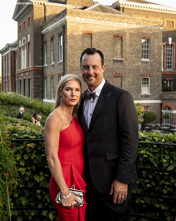 LONDON, ENGLAND - JUNE 27: Former Boston Red Sox pitcher Tim Wakefield and his wife Stacey pose during the Mission Gratitude Gala in Cooperation with Home Base and the Red Sox Foundation ahead of the 2019 Major League Baseball London Series on June 27, 2019 at Kensington Palace in London, England. (Photo by Billie Weiss/Boston Red Sox/Getty Images) *** Local Caption *** Stacey Wakefield; Tim Wakefield