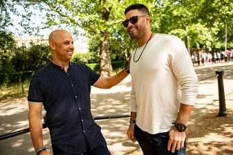 LONDON, ENGLAND - JUNE 28 : Manager Alex Cora of the Boston Red Sox talks with J.D. Martinez #28 during a photo opportunity during the changing of the guards at Buckingham Palace ahead of the 2019 Major League Baseball London Series on June 28, 2019 in London, England. (Photo by Billie Weiss/Boston Red Sox/Getty Images) *** Local Caption *** J.D. Martinez; Alex Cora