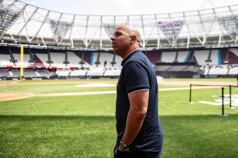 LONDON, ENGLAND - JUNE 28 : Manager Alex Cora of the Boston Red Sox arrives during a team workout ahead of the 2019 Major League Baseball London Series on June 28, 2019 at West Ham London Stadium in London, England. (Photo by Billie Weiss/Boston Red Sox/Getty Images) *** Local Caption *** Alex Cora