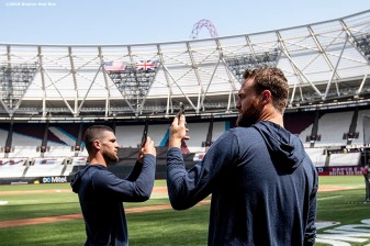 LONDON, ENGLAND - JUNE 28 : Marcus Walden #64 and Colten Brewer #54 of the Boston Red Sox take photos during a team workout ahead of the 2019 Major League Baseball London Series on June 28, 2019 at West Ham London Stadium in London, England. (Photo by Billie Weiss/Boston Red Sox/Getty Images) *** Local Caption *** Marcus Walden; Colten Brewer