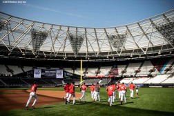 LONDON, ENGLAND - JUNE 28 : Members of the Boston Red Sox warm up during a team workout ahead of the 2019 Major League Baseball London Series on June 28, 2019 at West Ham London Stadium in London, England. (Photo by Billie Weiss/Boston Red Sox/Getty Images) *** Local Caption ***