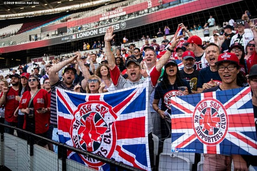 LONDON, ENGLAND - JUNE 28 : Fans of the Boston Red Sox cheer during a team workout ahead of the 2019 Major League Baseball London Series on June 28, 2019 at West Ham London Stadium in London, England. (Photo by Billie Weiss/Boston Red Sox/Getty Images) *** Local Caption ***