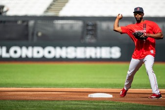 LONDON, ENGLAND - JUNE 28 : Eduardo Nunez #36 of the Boston Red Sox throws during a team workout ahead of the 2019 Major League Baseball London Series on June 28, 2019 at West Ham London Stadium in London, England. (Photo by Billie Weiss/Boston Red Sox/Getty Images) *** Local Caption *** Eduardo Nunez