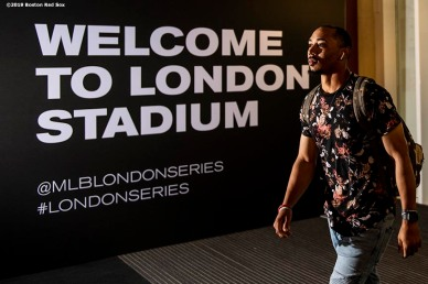 LONDON, ENGLAND - JUNE 29 : Mookie Betts #50 of the Boston Red Sox arrives before game one of the 2019 Major League Baseball London Series against the New York Yankees on June 29, 2019 at West Ham London Stadium in London, England. (Photo by Billie Weiss/Boston Red Sox/Getty Images) *** Local Caption *** Mookie Betts