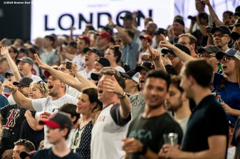 LONDON, ENGLAND - JUNE 29 : Fans cheer during game one of the 2019 Major League Baseball London Series between the Boston Red Sox and the New York Yankees on June 29, 2019 at West Ham London Stadium in London, England. (Photo by Billie Weiss/Boston Red Sox/Getty Images) *** Local Caption ***