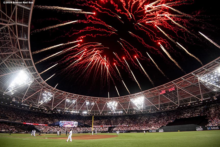 LONDON, ENGLAND - JUNE 29 : Fireworks explode following game one of the 2019 Major League Baseball London Series between the Boston Red Sox and the New York Yankees on June 29, 2019 at West Ham London Stadium in London, England. (Photo by Billie Weiss/Boston Red Sox/Getty Images) *** Local Caption ***
