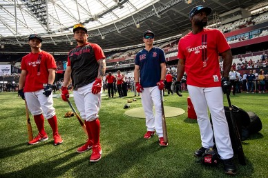 LONDON, ENGLAND - JUNE 29 : Andrew Benintendi #16, Christian Vazquez #7, Brock Holt #12, and Jackie Bradley Jr. #19 of the Boston Red Sox look on before game one of the 2019 Major League Baseball London Series against the New York Yankees on June 29, 2019 at West Ham London Stadium in London, England. (Photo by Billie Weiss/Boston Red Sox/Getty Images) *** Local Caption *** Andrew Benintendi; Christian Vazquez; Brock Holt; Jackie Bradley Jr.