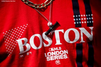 LONDON, ENGLAND - JUNE 29 : The necklace of Mookie Betts #50 of the Boston Red Sox is shown before game one of the 2019 Major League Baseball London Series against the New York Yankees on June 29, 2019 at West Ham London Stadium in London, England. (Photo by Billie Weiss/Boston Red Sox/Getty Images) *** Local Caption *** Mookie Betts