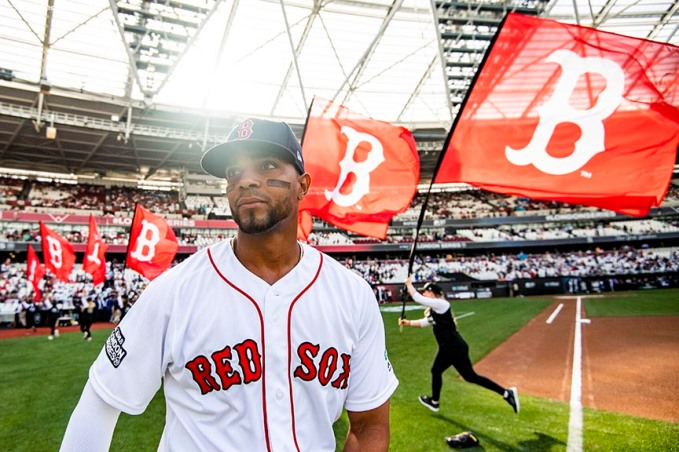 LONDON, ENGLAND - JUNE 29 : Xander Bogaerts #2 of the Boston Red Sox looks on as he warms up before game one of the 2019 Major League Baseball London Series against the New York Yankees on June 29, 2019 at West Ham London Stadium in London, England. (Photo by Billie Weiss/Boston Red Sox/Getty Images) *** Local Caption *** Xander Bogaerts