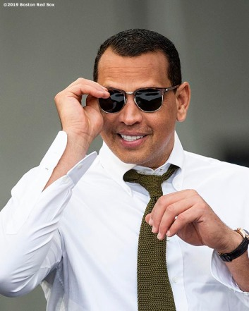 LONDON, ENGLAND - JUNE 29 : Alex Rodriguez reacts during game one of the 2019 Major League Baseball London Series between the Boston Red Sox and the New York Yankees on June 29, 2019 at West Ham London Stadium in London, England. (Photo by Billie Weiss/Boston Red Sox/Getty Images) *** Local Caption *** Alex Rodriguez