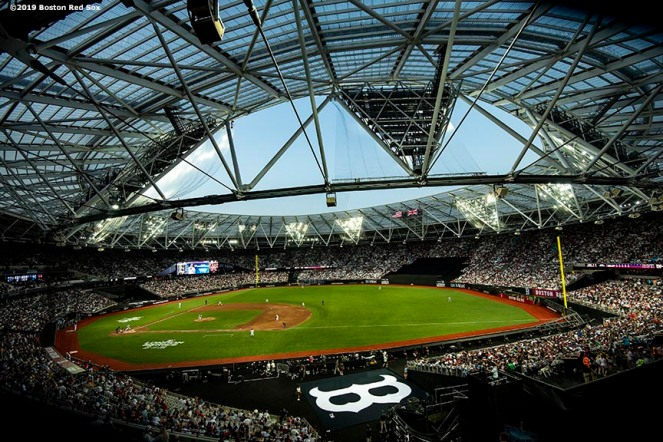 LONDON, ENGLAND - JUNE 29 : A general view during game one of the 2019 Major League Baseball London Series between the Boston Red Sox and the New York Yankees on June 29, 2019 at West Ham London Stadium in London, England. (Photo by Billie Weiss/Boston Red Sox/Getty Images) *** Local Caption ***
