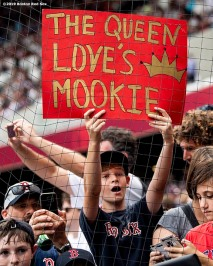 LONDON, ENGLAND - JUNE 30: A fan displays a sign before game two of the 2019 Major League Baseball London Series between the Boston Red Sox and the New York Yankees on June 30, 2019 at West Ham London Stadium in London, England. (Photo by Billie Weiss/Boston Red Sox/Getty Images) *** Local Caption ***