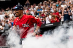 LONDON, ENGLAND - JUNE 30: Mookie Betts #50 of the Boston Red Sox is introduced before game two of the 2019 Major League Baseball London Series against the New York Yankees on June 30, 2019 at West Ham London Stadium in London, England. (Photo by Billie Weiss/Boston Red Sox/Getty Images) *** Local Caption *** Mookie Betts