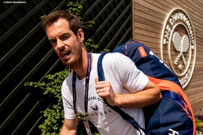 July 3, 2019 , Wimbledon, England: Andy Murray reacts at the practice courts during the 2019 Championships Wimbledon at the All England Lawn Tennis Club in Wimbledon, England Wednesday, July 3, 2019. (Photo by Billie Weiss/Wimbledon)