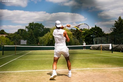 July 3, 2019 , Wimbledon, England: Rafael Nadal hits at the practice courts during the 2019 Championships Wimbledon at the All England Lawn Tennis Club in Wimbledon, England Wednesday, July 3, 2019. (Photo by Billie Weiss/Wimbledon)