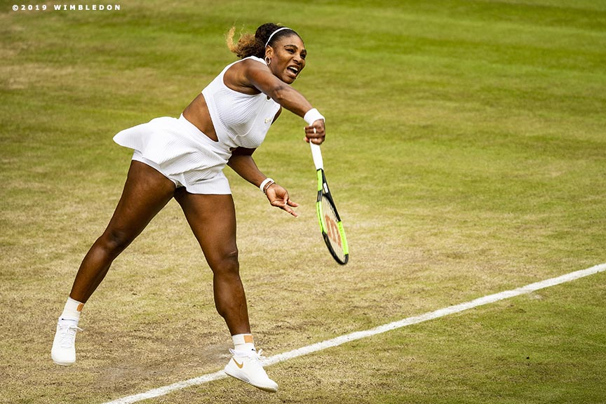 July 6, 2019 , Wimbledon, England: Serena Williams in action on No. 1 Court during the 2019 Championships Wimbledon at the All England Lawn Tennis Club in Wimbledon, England Saturday, July 6, 2019. (Photo by Billie Weiss/Wimbledon)