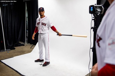 CLEVELAND, OH - JULY 08: Mookie Betts #50 of the Boston Red Sox poses for a portrait before the T-Mobile Home Run Derby during the 2019 Major League Baseball All-Star Game at Progressive Field on July 8, 2019 in Cleveland, Ohio. (Photo by Billie Weiss/Boston Red Sox/Getty Images) *** Local Caption *** Mookie Betts