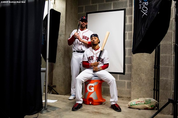 CLEVELAND, OH - JULY 08: Mookie Betts #50 and J.D. Martinez #28 of the Boston Red Sox pose for a portrait before the T-Mobile Home Run Derby during the 2019 Major League Baseball All-Star Game at Progressive Field on July 8, 2019 in Cleveland, Ohio. (Photo by Billie Weiss/Boston Red Sox/Getty Images) *** Local Caption *** Mookie Betts; J.D. Martinez