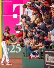 CLEVELAND, OH - JULY 08: First base coach Tom Goodwin of the Boston Red Sox gives a ball to fans before the T-Mobile Home Run Derby during the 2019 Major League Baseball All-Star Game at Progressive Field on July 8, 2019 in Cleveland, Ohio. (Photo by Billie Weiss/Boston Red Sox/Getty Images) *** Local Caption *** Tom Goodwin
