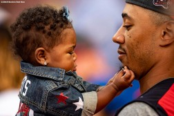 CLEVELAND, OH - JULY 08: Mookie Betts #50 of the Boston Red Sox holds his daughter Kynlee during the T-Mobile Home Run Derby during the 2019 Major League Baseball All-Star Game at Progressive Field on July 8, 2019 in Cleveland, Ohio. (Photo by Billie Weiss/Boston Red Sox/Getty Images) *** Local Caption *** Mookie Betts