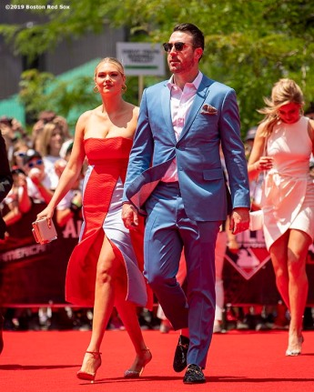 CLEVELAND, OH - JULY 09: Justin Verlander #35 of the Boston Red Sox walks the red carpet with his wife Kate Upton during the 2019 Major League Baseball All-Star Game Red Carpet event at Progressive Field on July 9, 2019 in Cleveland, Ohio. (Photo by Billie Weiss/Boston Red Sox/Getty Images) *** Local Caption *** Justin Verlander; Kate Upton