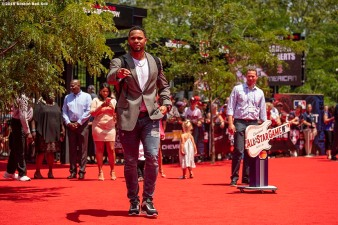 CLEVELAND, OH - JULY 09: Xander Bogaerts #2 of the Boston Red Sox poses during the 2019 Major League Baseball All-Star Game Red Carpet event at Progressive Field on July 9, 2019 in Cleveland, Ohio. (Photo by Billie Weiss/Boston Red Sox/Getty Images) *** Local Caption *** Xander Bogaerts