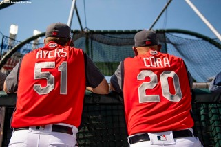 CLEVELAND, OH - JULY 09: Hitting coach Tim Hyers and Manager Alex Cora of the Boston Red Sox look on before the 2019 Major League Baseball All-Star Game at Progressive Field on July 9, 2019 in Cleveland, Ohio. (Photo by Billie Weiss/Boston Red Sox/Getty Images) *** Local Caption *** Tim Hyers
