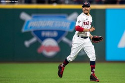CLEVELAND, OH - JULY 09: Mookie Betts #50 of the Boston Red Sox reacts after a victory over the National league during the 2019 Major League Baseball All-Star Game at Progressive Field on July 9, 2019 in Cleveland, Ohio. (Photo by Billie Weiss/Boston Red Sox/Getty Images) *** Local Caption *** Mookie Betts