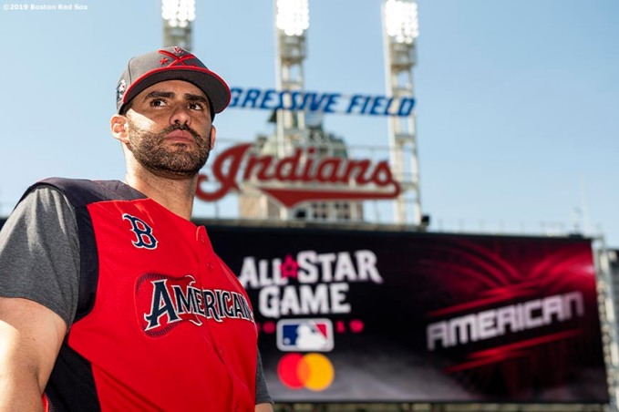 CLEVELAND, OH - JULY 09: J.D. Martinez #28 of the Boston Red Sox looks on before the 2019 Major League Baseball All-Star Game at Progressive Field on July 9, 2019 in Cleveland, Ohio. (Photo by Billie Weiss/Boston Red Sox/Getty Images) *** Local Caption *** J.D. Martinez