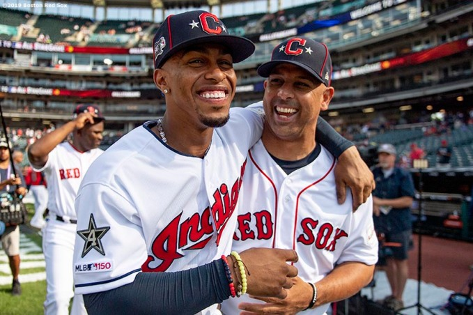 CLEVELAND, OH - JULY 09: Francisco Lindor #12 of the Cleveland Indians reacts with manager Alex Cora of the Boston Red Sox before the 2019 Major League Baseball All-Star Game at Progressive Field on July 9, 2019 in Cleveland, Ohio. (Photo by Billie Weiss/Boston Red Sox/Getty Images) *** Local Caption *** Francisco Lindor; Alex Cora