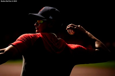 BOSTON, MA - JULY 13: Marco Hernandez #40 of the Boston Red Sox throws before a game against the Los Angeles Dodgers on July 13, 2019 at Fenway Park in Boston, Massachusetts. (Photo by Billie Weiss/Boston Red Sox/Getty Images) *** Local Caption *** Marco Hernandez