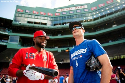 BOSTON, MA - JULY 13: Joe Kelly #17 of the Los Angeles Dodgers talks with Jackie Bradley Jr. #19 of the Boston Red Sox before a game against the Boston Red Sox on July 13, 2019 at Fenway Park in Boston, Massachusetts. (Photo by Billie Weiss/Boston Red Sox/Getty Images) *** Local Caption *** Joe Kelly; Jackie Bradley Jr.