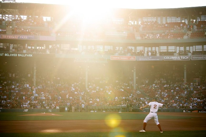 BOSTON, MA - JULY 13: Xander Bogaerts #2 of the Boston Red Sox warms up before a game against the Los Angeles Dodgers on July 13, 2019 at Fenway Park in Boston, Massachusetts. (Photo by Billie Weiss/Boston Red Sox/Getty Images) *** Local Caption *** Xander Bogaerts