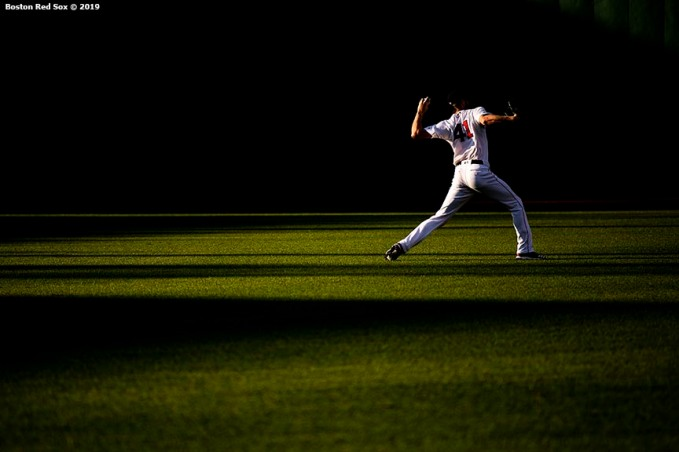 BOSTON, MA - JULY 13: Chris Sale #41 of the Boston Red Sox warms up before a game against the Los Angeles Dodgers on July 13, 2019 at Fenway Park in Boston, Massachusetts. (Photo by Billie Weiss/Boston Red Sox/Getty Images) *** Local Caption *** Chris Sale