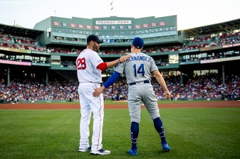 BOSTON, MA - JULY 13: J.D. Martinez #28 of the Boston Red Sox talks with Enrique Hernandez #14 of the Los Angeles Dodgers before a game on July 13, 2019 at Fenway Park in Boston, Massachusetts. (Photo by Billie Weiss/Boston Red Sox/Getty Images) *** Local Caption *** J.D. Martinez; Enrique Hernandez