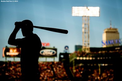 BOSTON, MA - JULY 13: Cody Bellinger #35 of the Los Angeles Dodgers looks on on deck during the first inning of a game against the Boston Red Sox on July 13, 2019 at Fenway Park in Boston, Massachusetts. (Photo by Billie Weiss/Boston Red Sox/Getty Images) *** Local Caption *** Cody Bellinger