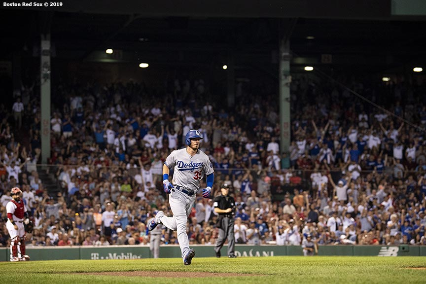 BOSTON, MA - JULY 13: Cody Bellinger #35 of the Los Angeles Dodgers rounds the bases after hitting a solo home run during the seventh inning of a game against the Boston Red Sox on July 13, 2019 at Fenway Park in Boston, Massachusetts. (Photo by Billie Weiss/Boston Red Sox/Getty Images) *** Local Caption *** Cody Bellinger