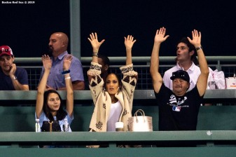 BOSTON, MA - JULY 14: Jennifer Lopez participates in the wave during a game between the Boston Red Sox and the Los Angeles Dodgers on July 14, 2019 at Fenway Park in Boston, Massachusetts. (Photo by Billie Weiss/Boston Red Sox/Getty Images) *** Local Caption *** Jennifer Lopez
