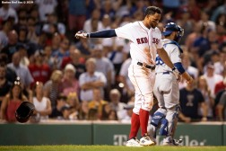 BOSTON, MA - JULY 14: Xander Bogaerts #2 of the Boston Red Sox reacts after striking out during the ninth inning of a game against the Los Angeles Dodgers on July 14, 2019 at Fenway Park in Boston, Massachusetts. (Photo by Billie Weiss/Boston Red Sox/Getty Images) *** Local Caption *** Xander Bogaerts